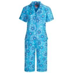Frankie & Johnny Cotton Voile Pajamas - Short Sleeve, Capris (For Plus Size Women)