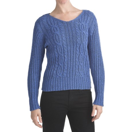 ALPS Laurelei Cable-Knit Sweater - Cotton, V-Neck (For Women)