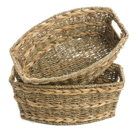 Home Zone Rectangular Storage Baskets - Seagrass, Set of 2