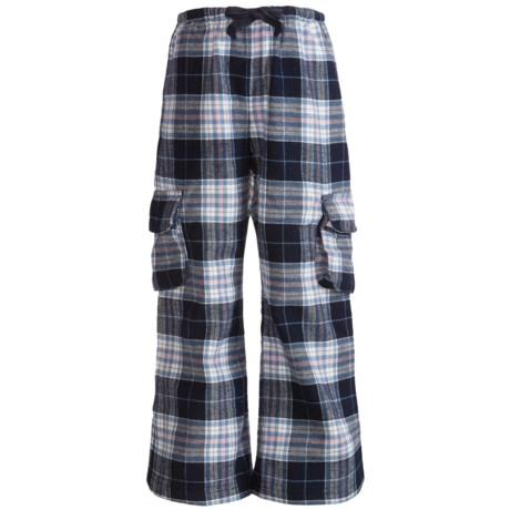 Cotton Flannel Cargo Dorm Pants (For Girls)