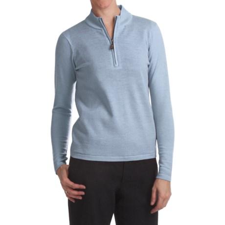 Lined Merino Wool Sweater - Zip Neck (For Women)