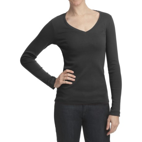Essential Cotton Jersey Shirt - V-Neck, Long Sleeve (For Women)