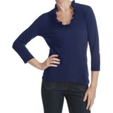 Box Pleat V-Neck Shirt - 3/4 Sleeve (For Plus Size Women)