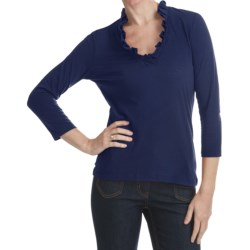 Specially made Box Pleat V-Neck Shirt - 3/4 Sleeve (For Plus Size Women)