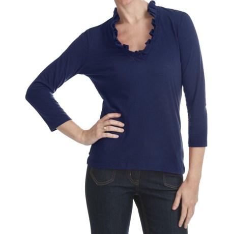 Box Pleat V-Neck Shirt - 3/4 Sleeve (For Plus Size Women)