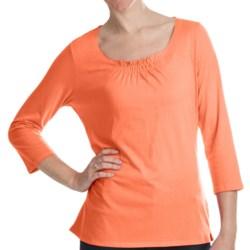 Gathered Neck Shirt - Cotton-Modal, 3/4 Sleeve (For Women)