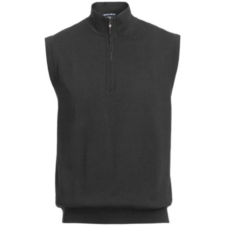 Chase Edward Golf Sweater Wind Vest - Merino Wool, Zip Neck, Lined (For Men)