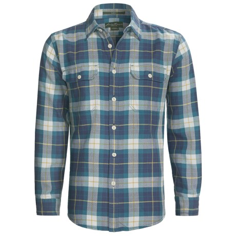 Cotton Flannel Plaid Shirt - Long Sleeve (For Men)