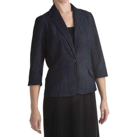 Stretch Denim Single-Button Blazer (For Women)