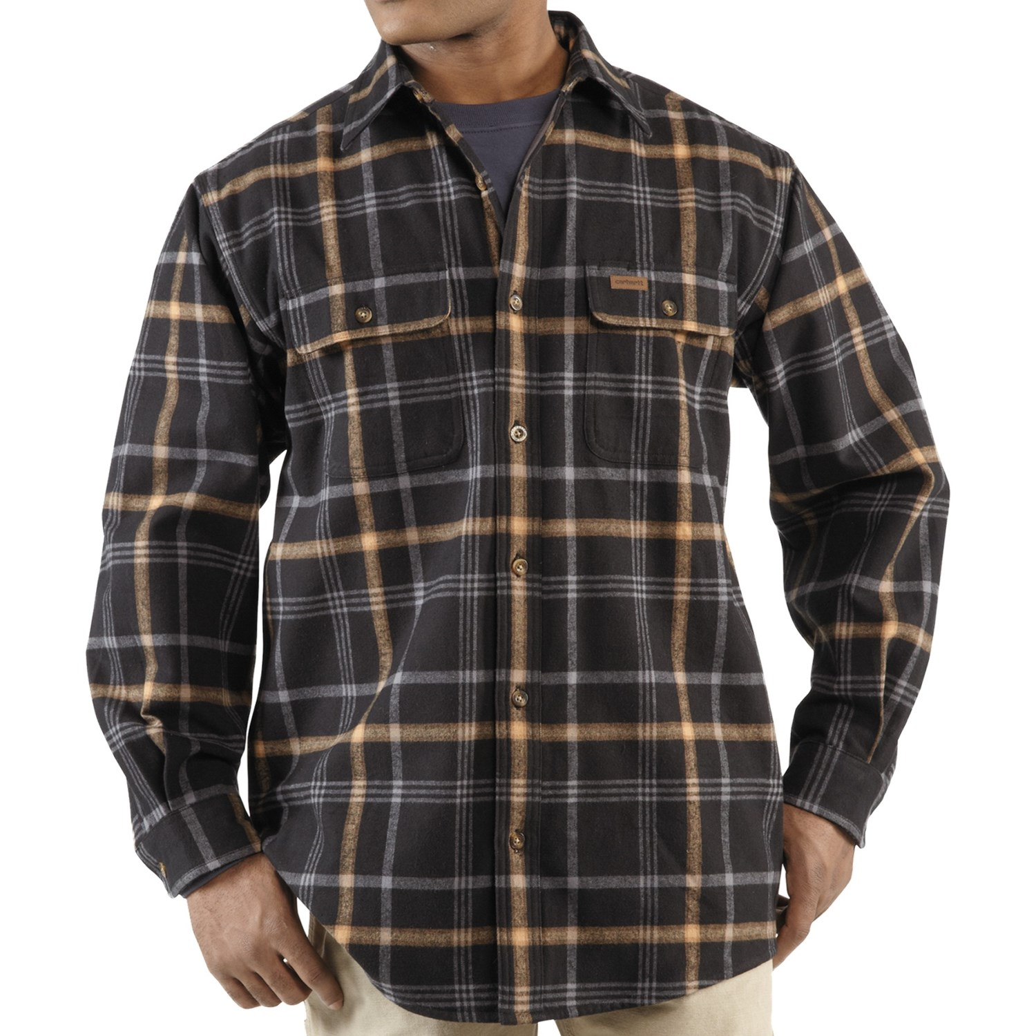 Carhartt youngstown flannel shirt jacket for men 5623n for Flannel shirt and vest