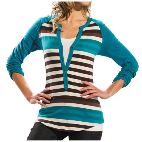 Lole Theory Stripe Henley Shirt - Stretch Organic Cotton, Long Sleeve (For Women)