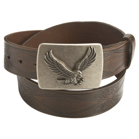 American Beltway Leather Belt - Eagle Plaque Buckle (For Men)