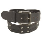American Beltway Nickel Rivet Accent Leather Belt (For Men)