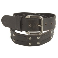 American Beltway Nickel Rivet Accent Leather Belt (For Men)