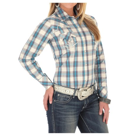Wrangler Rock 47 Dobby Plaid Shirt - Snap Front, Long Sleeve (For Women)
