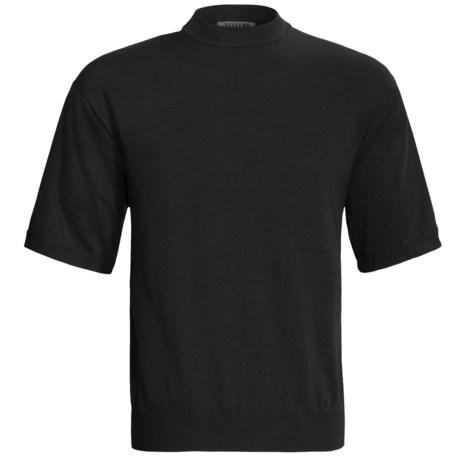 Visitor Silk-Cotton Shirt - Mock Neck, Short Sleeve (For Men)