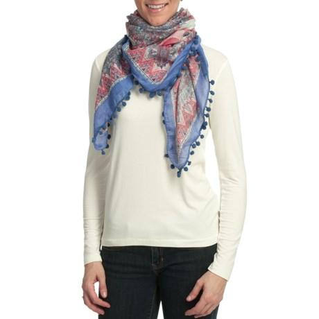 Asian Eye Casa Blanca Scarf - Cotton, Pompom Fringe (For Women)