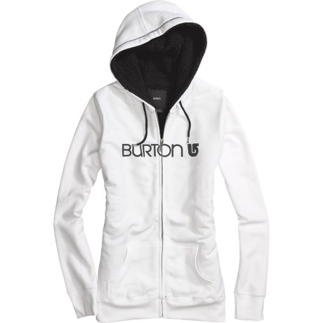 Burton Her Logo Hoodie Sweatshirt - Full Zip, Sherpa Lining (For Women)