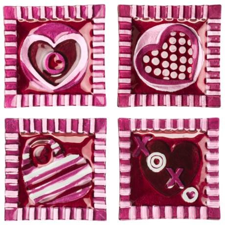 "DII XOXO Heart Glass Canape 6"" Plates - Set of 4"
