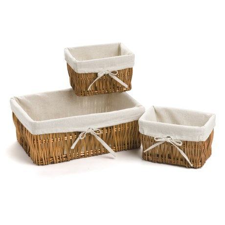 Home Zone Willow Basket Set with Cloth Liners - 3-Piece
