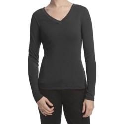 Lilla P Classic Cotton Rib Double V-Neck Shirt - Long Sleeve (For Women)