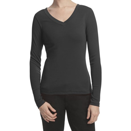 Lilla P Classic Cotton Rib Double V-Neck Shirt - Long Sleeve (For Women)