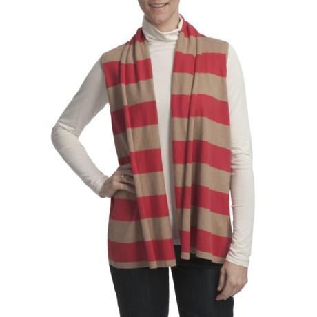 Lilla P Stripe Flyaway Sweater Vest - Cotton-Cashmere (For Women)