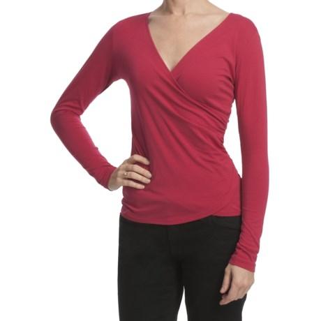 Lilla P Pima Jersey Shirred Surplice Shirt - Long Sleeve (For Women)