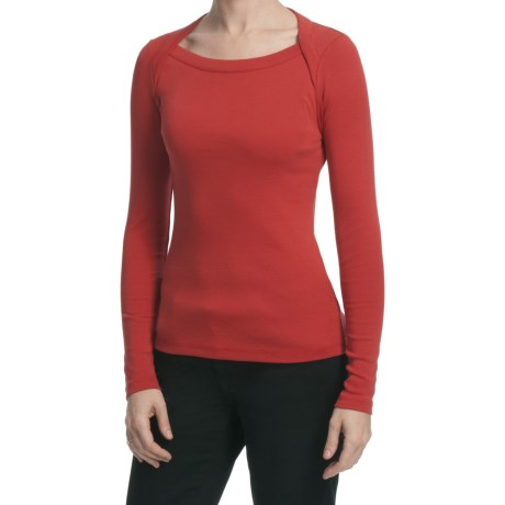 Lilla P Classic Cotton Rib Shirt - Lap Neck, Long Sleeve (For Women)