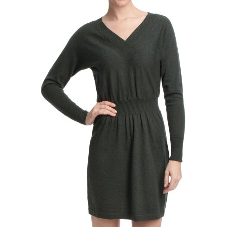 Lilla P V-Neck Sweater Dress - Cotton-Cashmere (For Women)