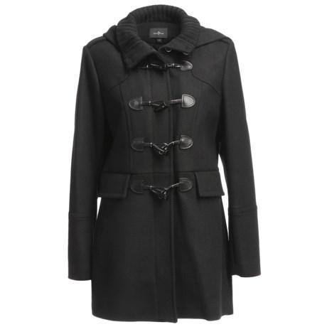 Cole Haan Outerwear Soft Italian Wool Twill Duffle Coat - Detachable Hood (For Women)