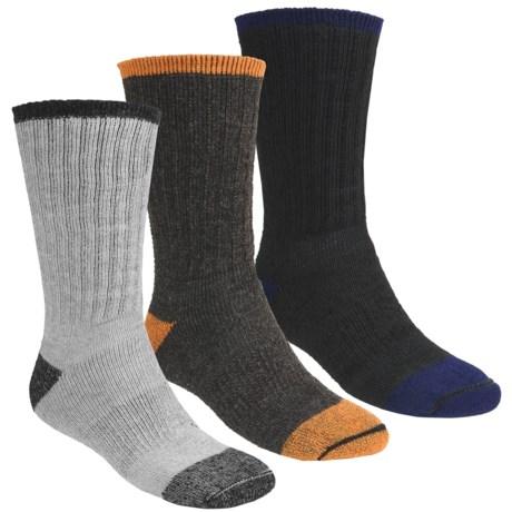 Catawba Dark Color Boot Socks - 3-Pack, Merino Wool Blend, Midweight, Crew (For Men)