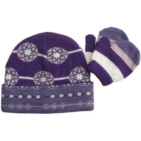 SmartWool Lil Daisy Beanie Hat and Mitten Set - Merino Wool (For Kids)