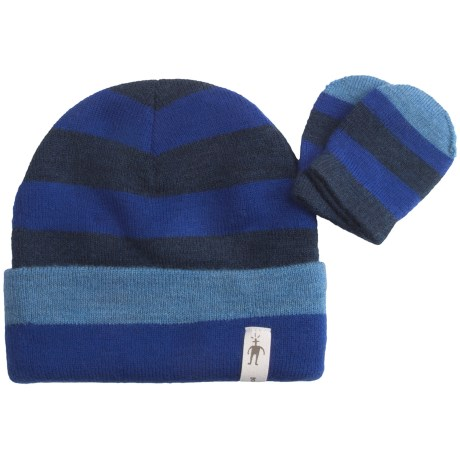 SmartWool Stripe Beanie Hat and Mitten Set - Merino Wool (For Kids)