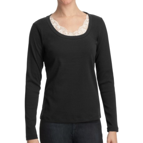 Specially made Scoop Neck Shirt with Lace - Cotton, Long Sleeve (For Women)