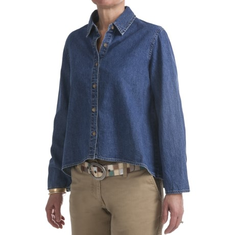 Washed Denim Shirt - Long Sleeve (For Women)