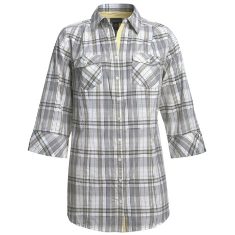 Woven Plaid Tunic Shirt - Cotton, 3/4 Sleeve (For Plus Size Women)