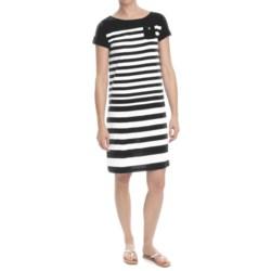 Striped Cotton Jersey Knit Dress - Short Sleeve (For Women)