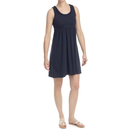 Open-Back Jersey Knit Dress - Ruffle Scoop Neck, Sleeveless (For Women)