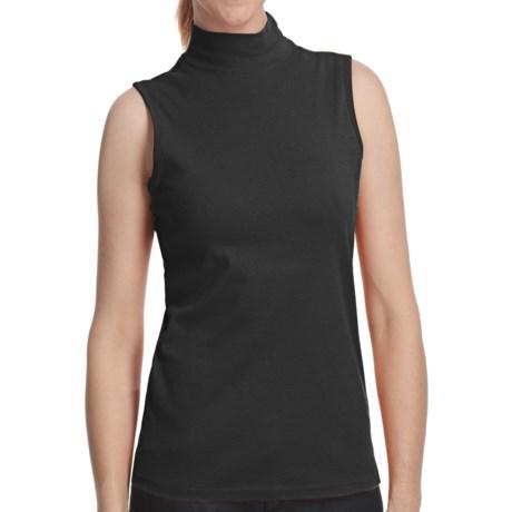 Mock Neck Shirt - Cotton, Sleeveless (For Women)