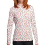 Snowflake Print MockTurtleneck - Cotton, Long Sleeve (For Women)