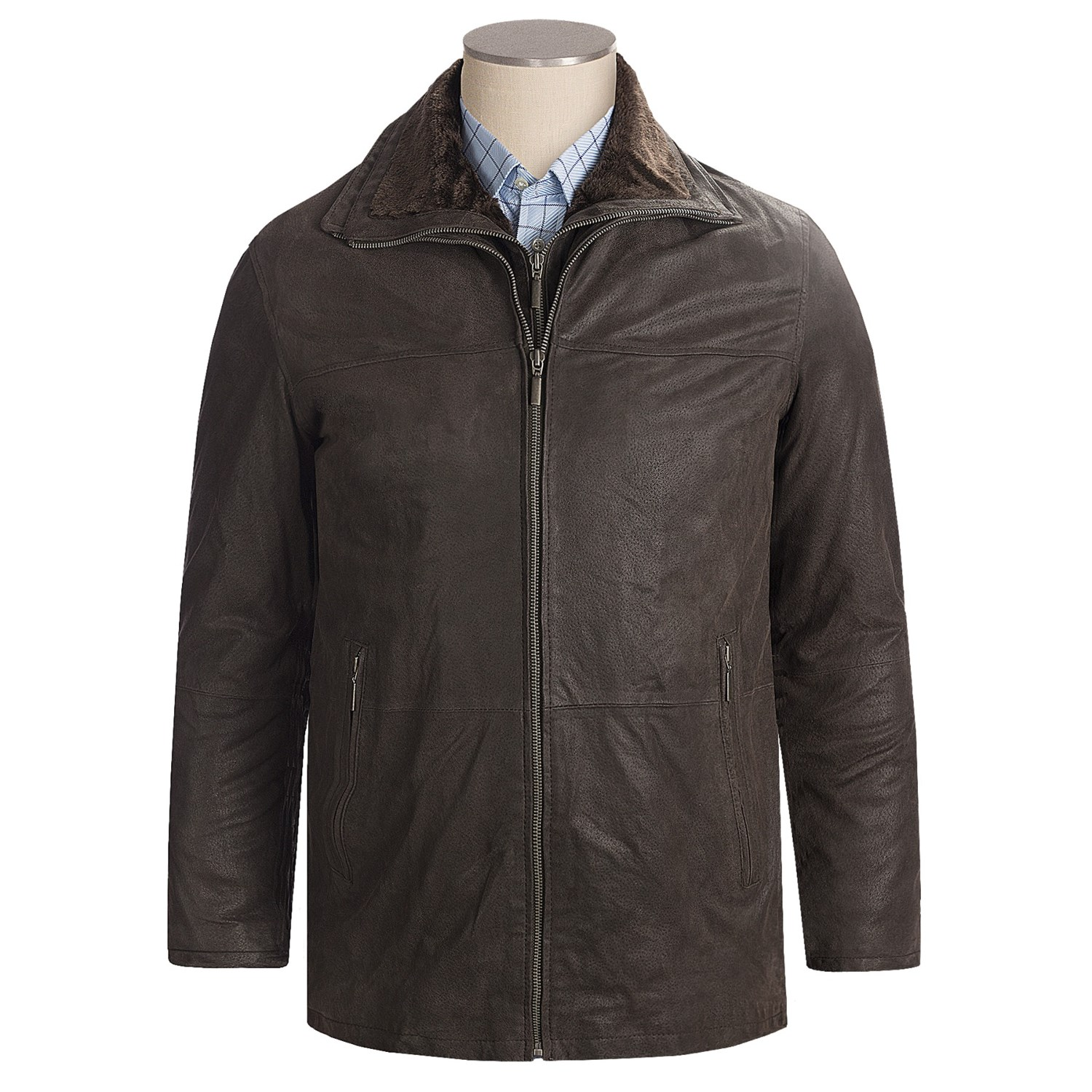 When only the best will do, look no further than this sharp men's leather car coat. The perfect accessory to a tasteful lifestyle. Long sleeves. In black. PRODUCT FEATURES. Button front, slant pockets and a point collar set the standard. Interior pockets store your essentials. Smooth leather construction promises sleek, long-lasting appeal.