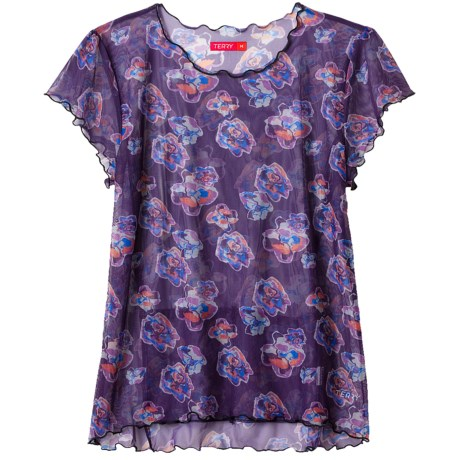 Terry Floral Mesh Shirt - Short Sleeve (For Women)