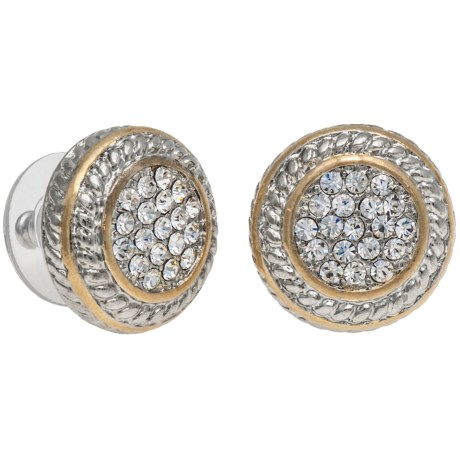 Jokara Pave Post Earrings - Two Tone