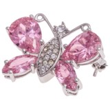 Jokara Pink CZ Butterfly Pin