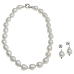 "Joia de Majorca 13x15mm Baroque Organic Pearl 18"" Necklace and Earring Set"