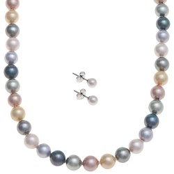 """Joia de Majorca 8mm Organic Pearl 18"""" Necklace and Earring Set"""