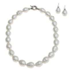"Joia de Majorca Baroque 14x16mm Organic Pearl 18"" Necklace and Earring Set"
