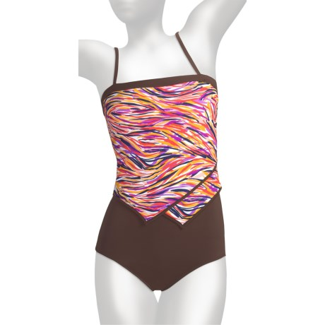 It Figures Tummy Thinner Bandeau Swimsuit - 1-Piece (For Women)