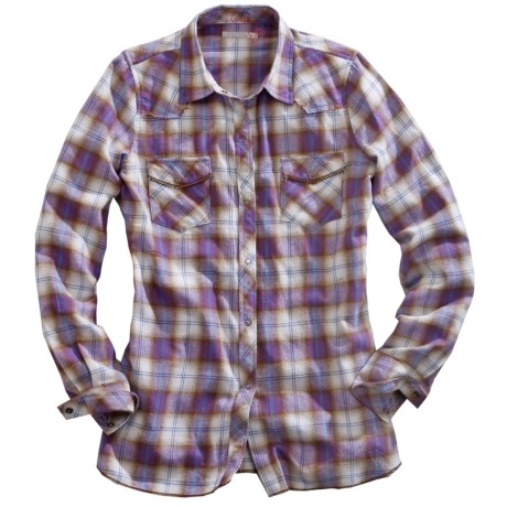 Tin Haul Ombre Plaid Flannel Shirt - Snap Front, Long Sleeve (For Women)